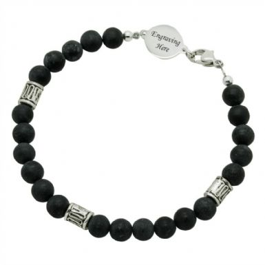 Mans Blackstone Memorial Bracelet with Engraving | Someone Remembered
